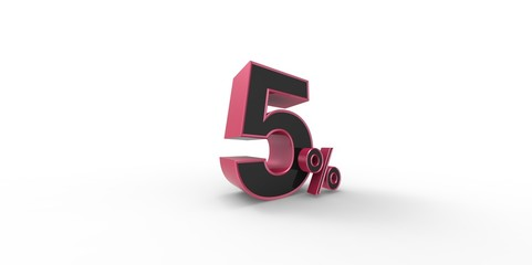 3D rendering of a pink and black 5 percent letters