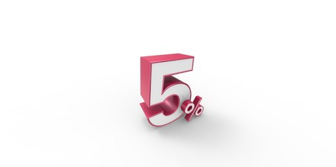 3D rendering of a pink and white 5 percentage letters
