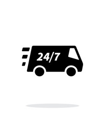 Delivery day and night support icon on white background.