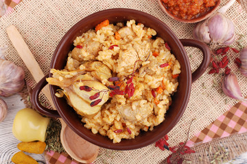 Pilaf. Rice with meat and vegetables