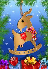 Игрушка-коза на новогодней ёлке. Векторная иллюстрация.