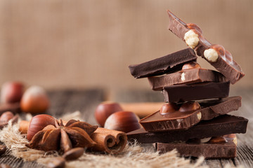 Christmas milk chocolate bar with nuts cinnamon and star anise