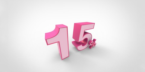 3D rendering of a pink 15 percent letters on a white background