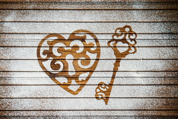 Heart and key of the flour as a symbol of love. Valentines day.