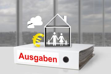 Weißer Aktenordner Ausgaben Familie Haus Eurosymbol