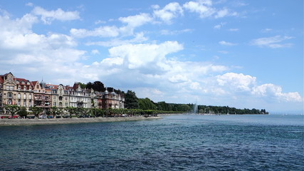 Konstanz - Constance See Side and Lake Constance with blue sky