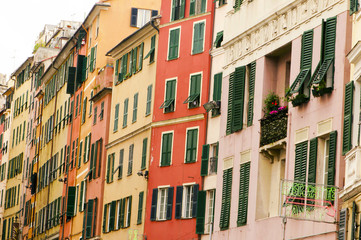 Typical colors of mediterranean houses, Genoa, Liguria, Italy