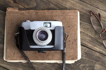 Retro camera on the table