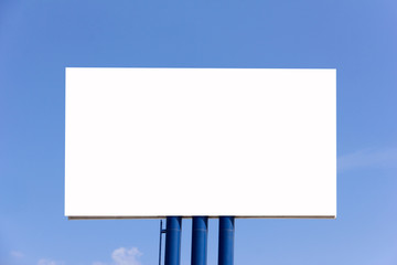 blank billboard for new advertisement against blue sky