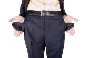 bankrupt showing empty pockets