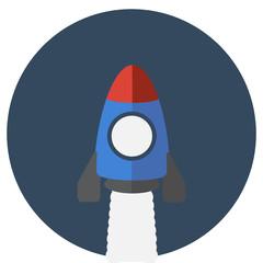 Space rocket flying in sky, flat design colored vector illustrat