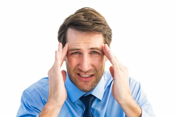 Young businessman with severe headache