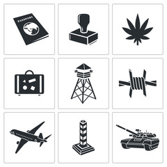 Border crossing Icon set