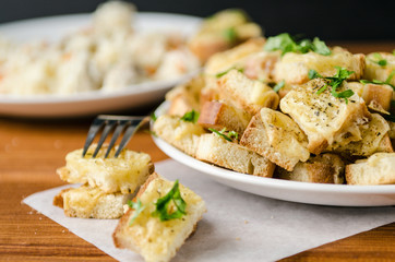 baked toast with cheese and herbs