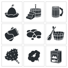 Vector Bath Accessories Icons Set