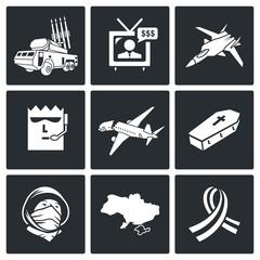 Plane crash Vector Icons Set