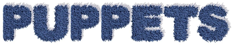 PUPPETS pupazzi blu tappeto 3d, sfondo bianco