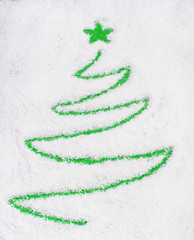 Christams tree on snow(writting)