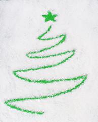 Christams tree on snow(writting)