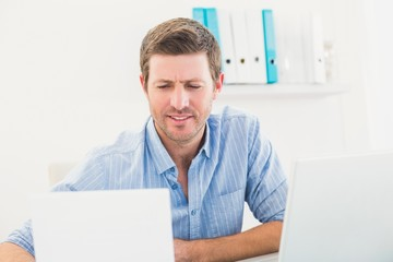 A businessman reading document