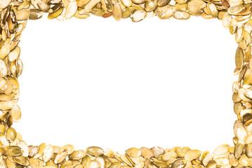 A frame made from pumpkin seeds