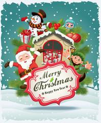 Vintage Christmas poster design Santa Claus, Snowman, elf & owl