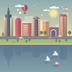 Modern city vector illustration in flat style