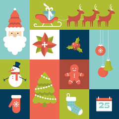 Set of flat icons for Christmas holiday