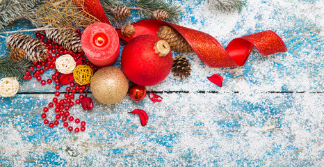 Winter decoration. Composition on wood background.