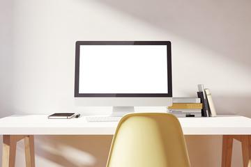 Light simple workspace  mockup