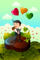 Man carrying heart shaped balloons and red roses