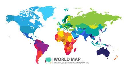 fototapeta mapa świata kolorowa na białym tle