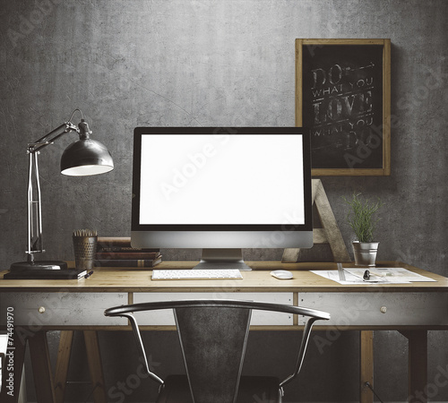 Stylish workplace mockup - 74491970