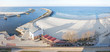 Panoramic view of Kolobrzeg port entrance, Poland. - 74492302