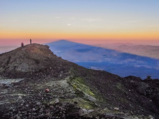 Sunset from the summit of mount Etna