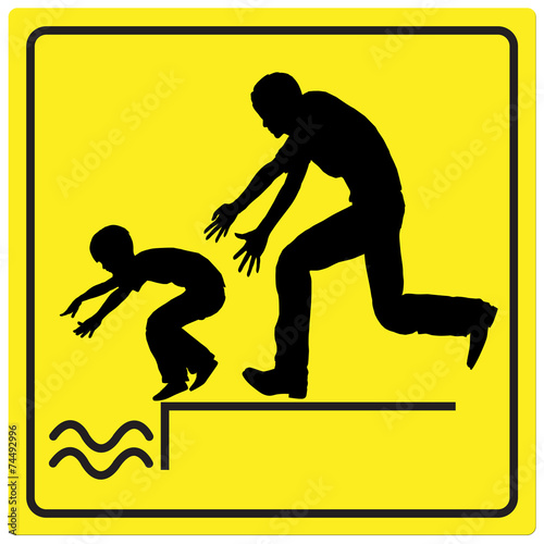 Leinwanddruck Bild Protect your Child from drowning