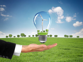 Windrad in der Landschaft / Erneuerbare Energien