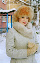 Portrait of a girl in winter day