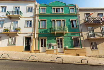 Typical old houses in Nazare, Portugal