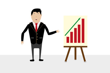 Businessman in suit with blank presentation easel gesturing with