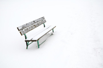 Snowy bench outdoor