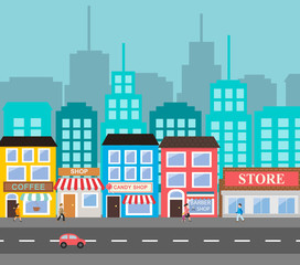 Small town urban landscape in flat design style, vector illustra