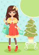 cute girl holding presents next to a Christmas tree