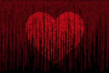 red matrix background computer generated, with love heart symbol