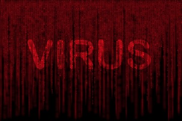 red matrix background computer generated, with word VIRUS
