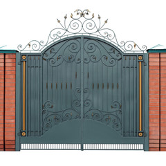 Modern forged gates with overlaid ornaments.
