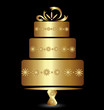 Cake golden design logo vector