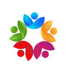 Logo health nature leaves teamwork vector design