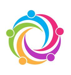 Teamwork unity people logo design