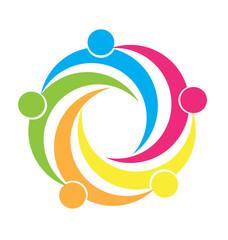 Logo swooshes teamwork people vector